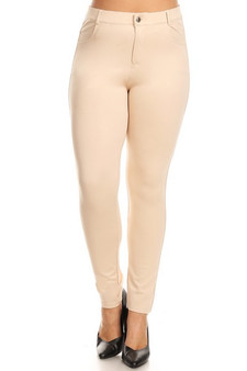 Mid Rise Ponte Knit Skinny Pants - Plus CAMEL
