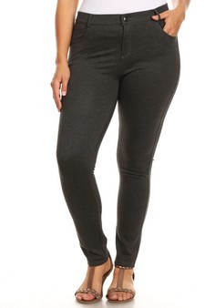 Mid Rise Ponte Knit Skinny Pants - Plus _CHARCOAL