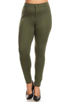 Mid Rise Ponte Knit Skinny Pants - Plus OLIVE