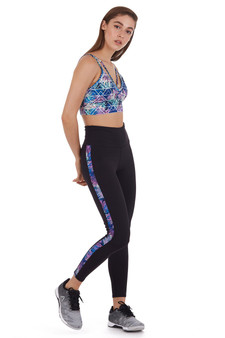 COVERGIRL - HIGH WAIST LEGGING WITH LEAVES PRINT SIDE PANEL (CGP19219L-BLK)