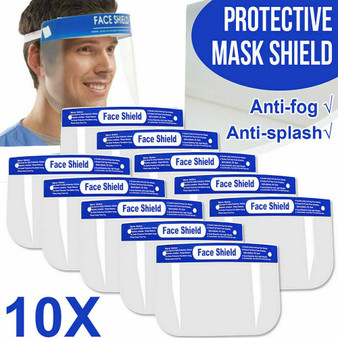 10 Pack Safety Face Shield Anti-Splash Reusable Washable Protection Cover Helmet Free shipping!