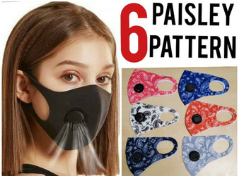 BREATHABLE FACE MASK WITH FILTER Paisley Black Fashion Bandana(6 MASKS PER PACK) Free shipping!