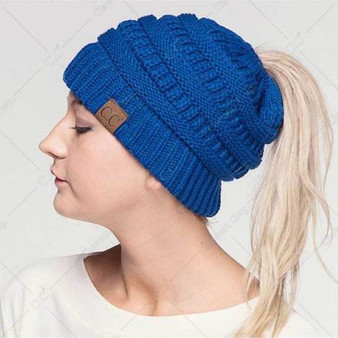 Knit Messy Bun Hat Beanie (MB-20A)