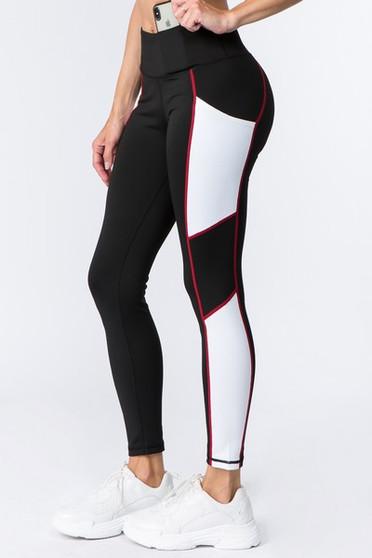 Active High Rise Side Pocket Colorblock Leggings -BLACK