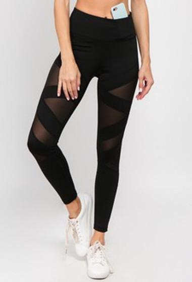 Active Mesh Striped Single Pocket Leggings - BLACK