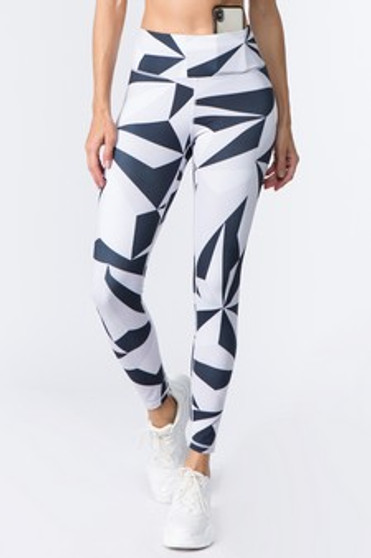 Active High Rise Geo Print Workout Legging - WHITE/BLACK