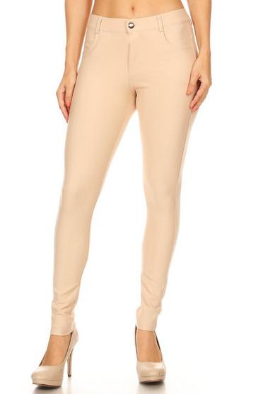 Mid Rise Ponte Knit Skinny Pants - CAMEL