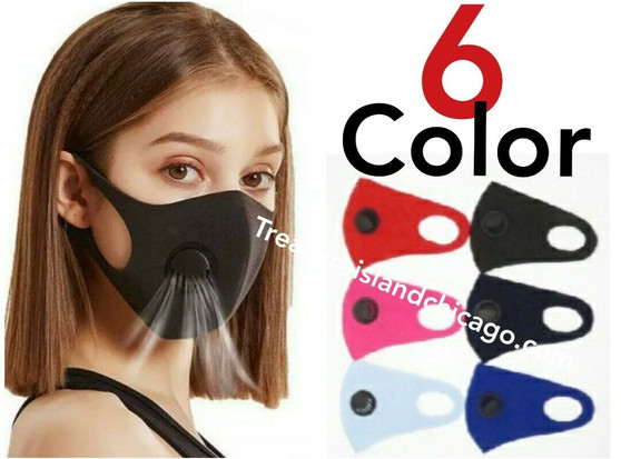 BREATHABLE FACE MASK WITH FILTER (6 MASKS PER PACK) Free shipping
