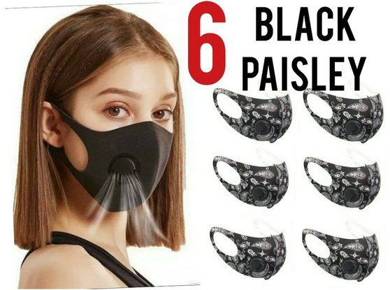Breathable Face Mask With Filter(6 MASKS PER PACK)Black Paisley Pattern with vent washable free shipping