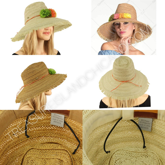 FRINGED WIDE BRIM HAT WITH PAPER FLOWER BAND (ST-705)