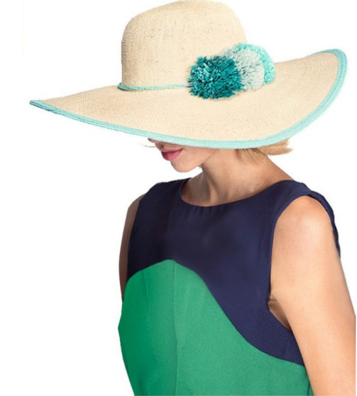 BRIM HAT WITH PAPER FLOWER BAND (ST-707)
