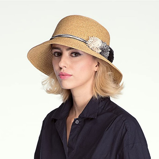 BRIM HAT WITH MULTI PAPER FLOWER TRIMMING (ST-712)