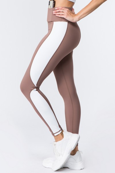 Active Color Block Sports Leggings - SMOKE MAUVE