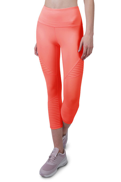 COVERGIRL-7/8 MOTO LEGGINGS IN HOT CORAL