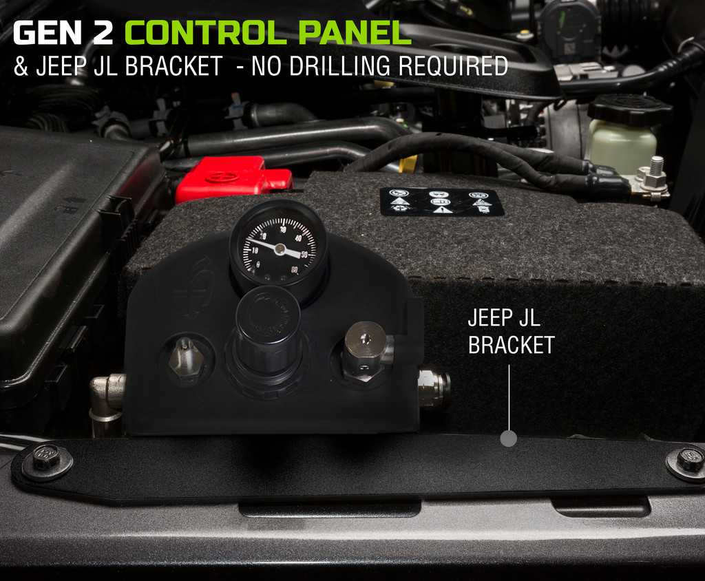 Up Down Air Installed on Jeep Wrangler JL Passenger Side