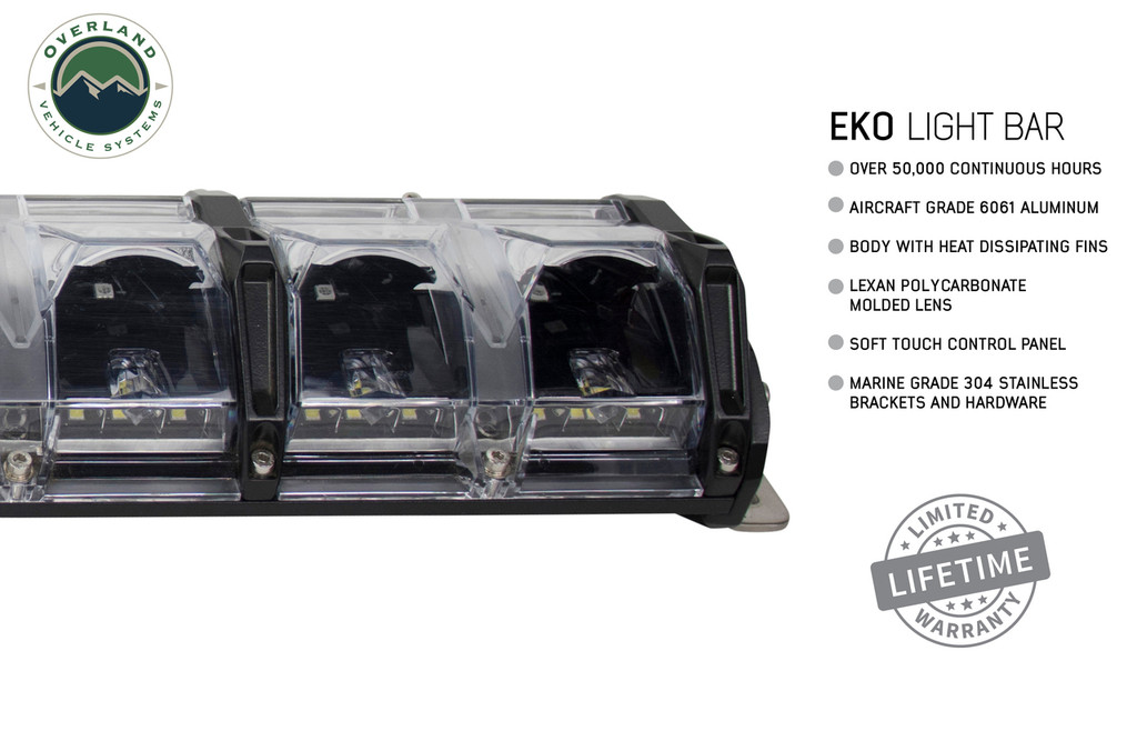 """15010201 Overland Vehicle Systems EKO 20"""" LED Light Bar With Variable Beam, DRL,RGB, 6 Brightness. Over 50,000 Continuous hours, Aircraft Grade 6061 Aluminum Body with Heat Dissipating Fins and Lexan Polycarbonate Molded Lens"""
