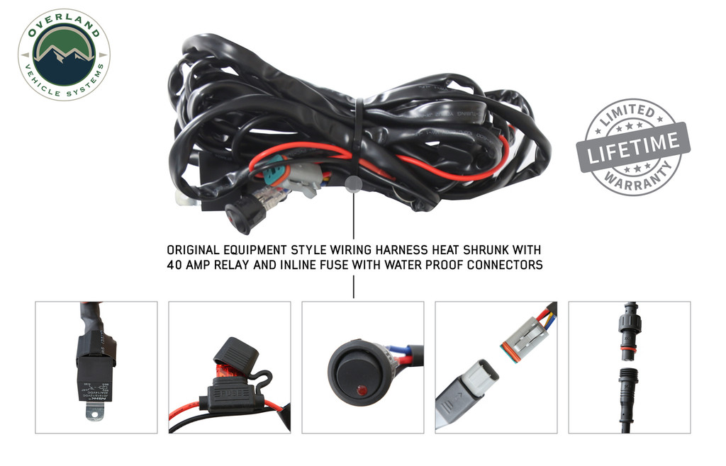 """15010501 Overland Vehicle Systems EKO 50"""" LED Light Bar With Variable Beam, DRL,RGB, 6 Brightness. Original Equipment Style Wiring Harness Heat Shrunk With 40 Amp Relay and Inline Fuse with water proof connectors and Soft Touch Control Panel."""