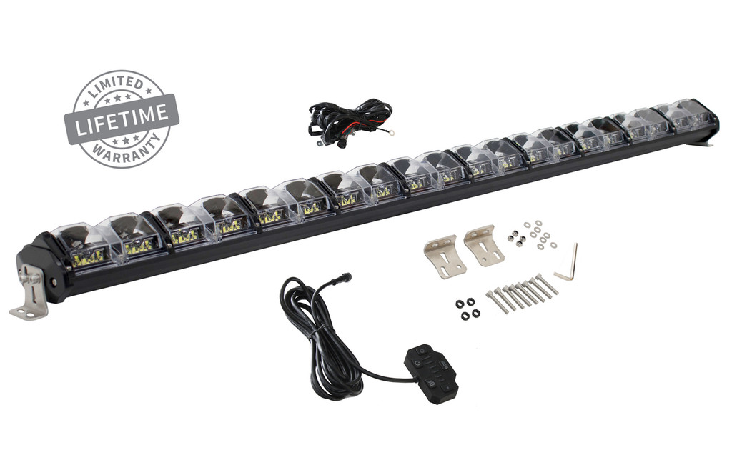 """15010501 Overland Vehicle Systems EKO 40"""" LED Light Bar With Variable Beam, DRL,RGB, 6 Brightness. IP 68 rated, 124 Watts 28 Osram High Intensity LED's with Olson Chip and RGB technology. Over 50,000 Continuous hours, Aircraft Grade 6061 Aluminum Body with Heat Dissipating Fins and Lexan Polycarbonate Molded Lens."""