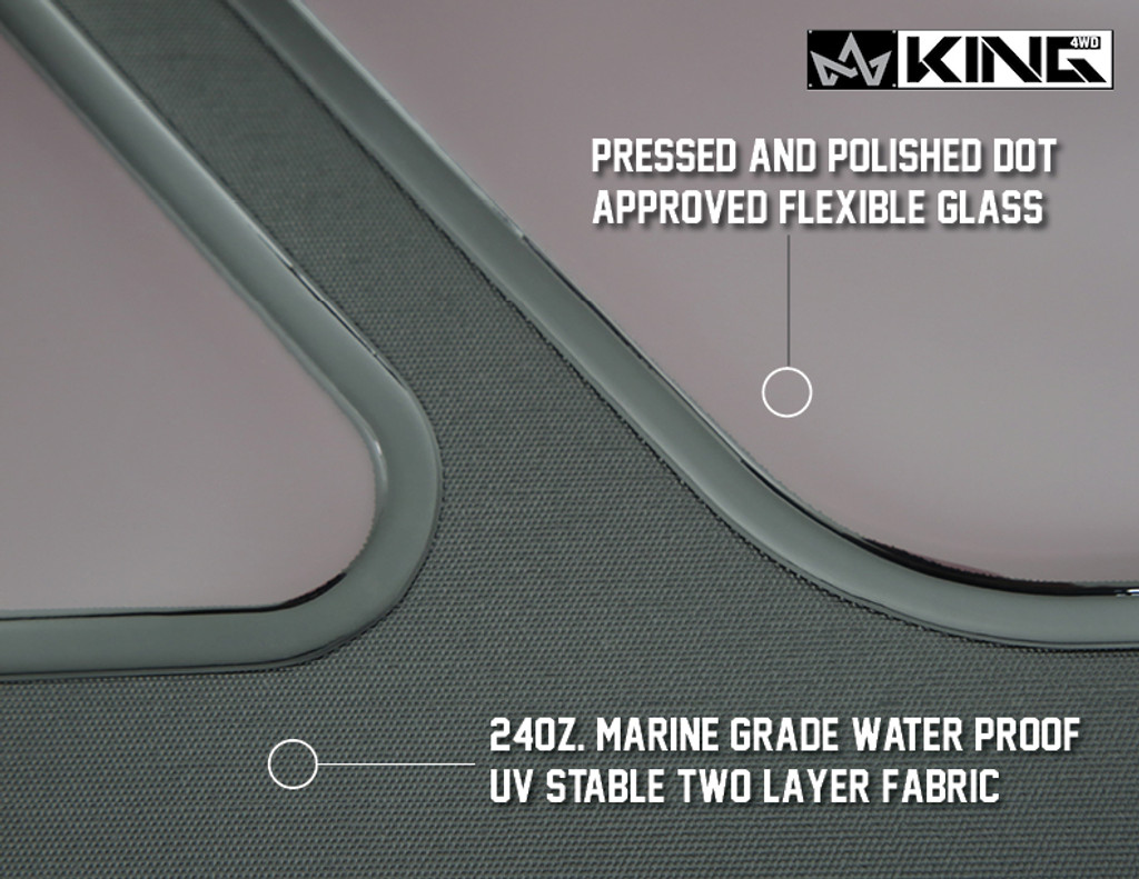 14010235 King 4WD Premium Replacement Soft Top Without Upper Doors, Black Diamond With Tinted Windows, Jeep Wrangler TJ 1997-2006. Pressed and Polished DOT Approved Flexible Glass, 24oz Marine Grade Waterproof UV Stable Two Layer Fabric.