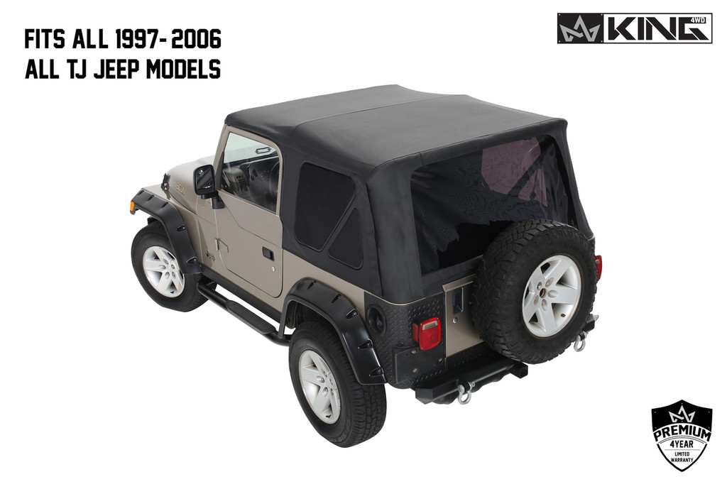 14010235 King 4WD Premium Replacement Soft Top Without Upper Doors, Black Diamond With Tinted Windows, Jeep Wrangler TJ 1997-2006. Soft Top Back View. Fits All 1997-2006 All Jeep TJ Models.