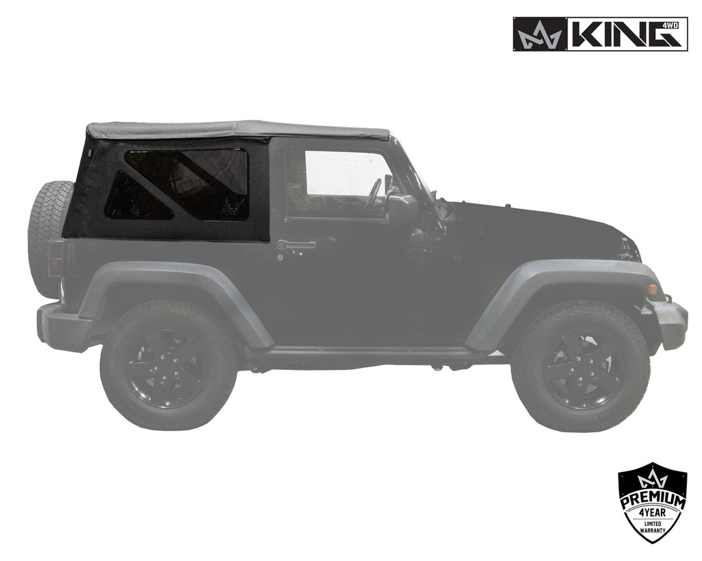 14010535 King 4WD Premium Replacement Soft Top, Black Diamond With Tinted Windows, Jeep Wrangler JK 2 Door 2010-2018. Side View of Soft Top.