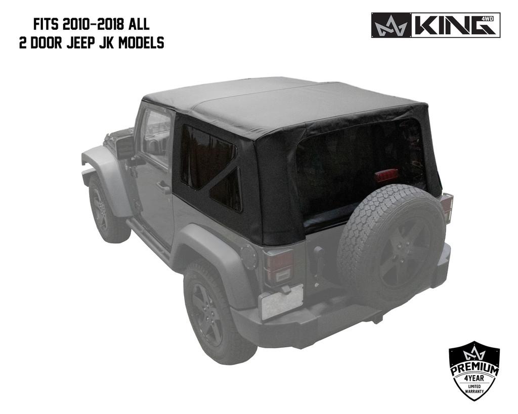 14010535 King 4WD Premium Replacement Soft Top, Black Diamond With Tinted Windows, Jeep Wrangler JK 2 Door 2010-2018. Fits 2010-2018 All 2 Door Jeep JK Models.