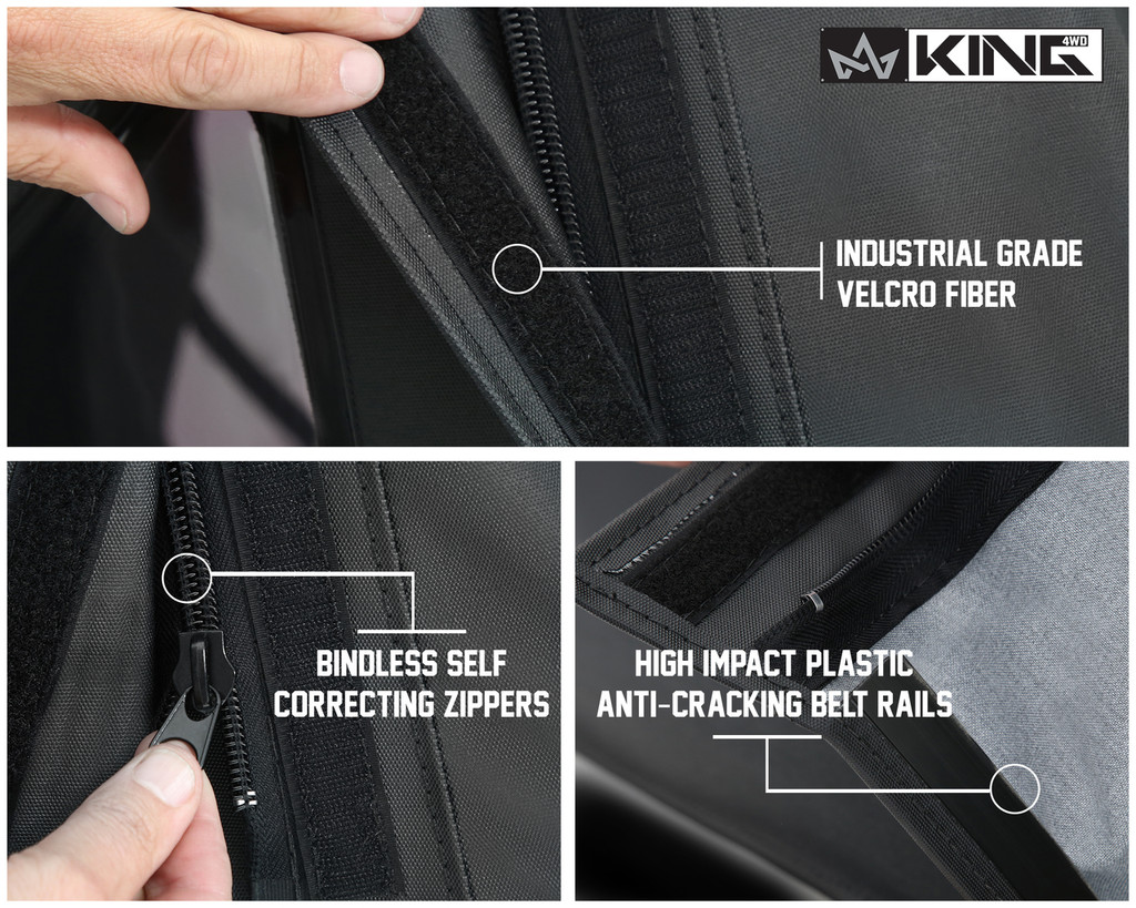 14010535 King 4WD Premium Replacement Soft Top, Black Diamond With Tinted Windows, Jeep Wrangler JK 2 Door 2010-2018. Industrial Grade Velcro Fiber, Bindless Self-correcting Zippers, High Impact Plastic Cracking Belt Rails.