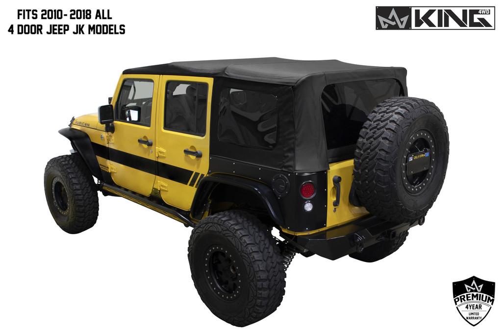 Jeep Wrangler 4 Door Soft Top >> 14010635 King 4wd Premium Replacement Soft Top Black Diamond With Tinted Windows Jeep Wrangler Unlimited Jk 4 Door 2010 2018