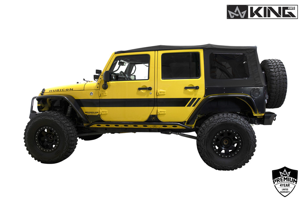14010635 King 4WD Premium Replacement Soft Top, Black Diamond With Tinted Windows, Jeep Wrangler Unlimited JK 4 Door 2010-2018. Soft Top Side View.