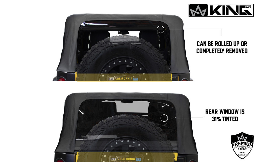 14010635 King 4WD Premium Replacement Soft Top, Black Diamond With Tinted Windows, Jeep Wrangler Unlimited JK 4 Door 2010-2018. Back View, Windows Can be Rolled up or removed. 31% Tint.