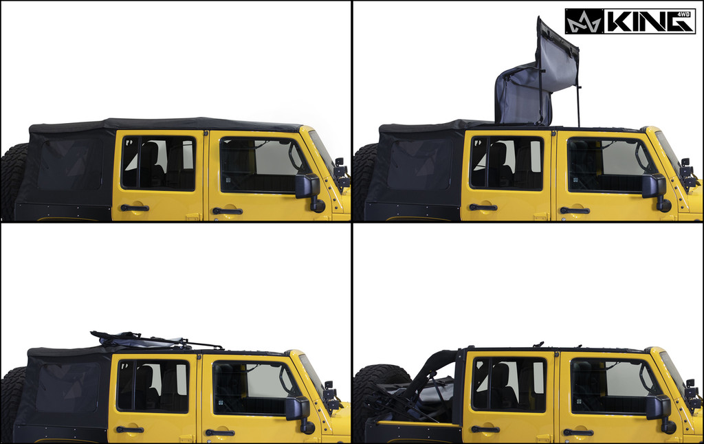 14010635 King 4WD Premium Replacement Soft Top, Black Diamond With Tinted Windows, Jeep Wrangler Unlimited JK 4 Door 2010-2018. 4 Panel Soft Top Assembly.