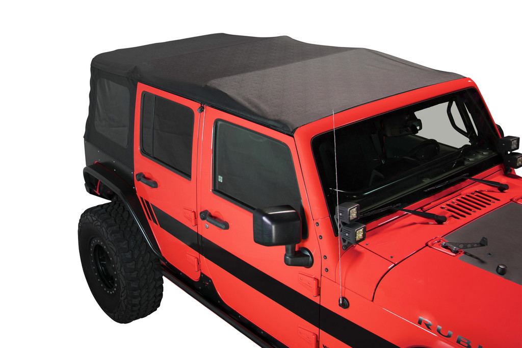 14010435 King 4WD Premium Replacement Soft Top, Black Diamond With Tinted Windows, Jeep Wrangler Unlimited JK 4 Door 2007-2009.