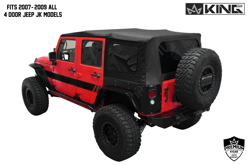 Jeep Wrangler Unlimited Soft Top >> 14010435 King 4wd Premium Replacement Soft Top Black Diamond With Tinted Windows Jeep Wrangler Unlimited Jk 4 Door 2007 2009
