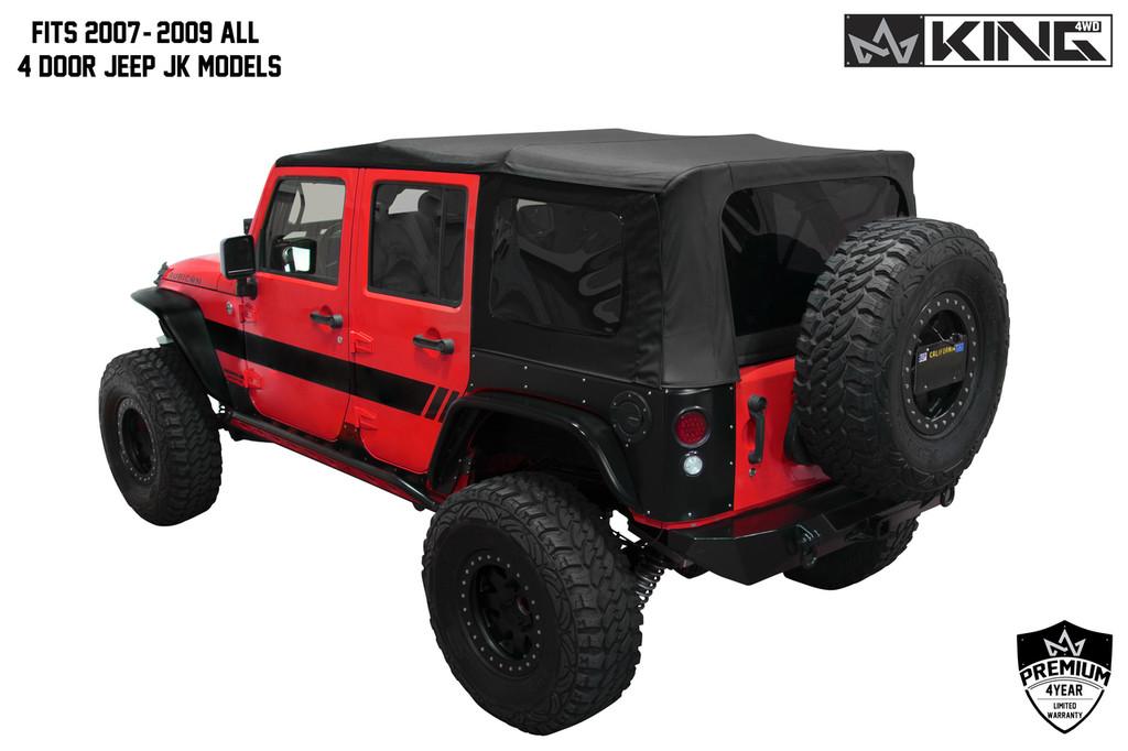 14010435 King 4WD Premium Replacement Soft Top, Black Diamond With Tinted Windows, Jeep Wrangler Unlimited JK 4 Door 2007-2009. Fits 2007-2009 All 4 Door Jeep JK Models, Back View.
