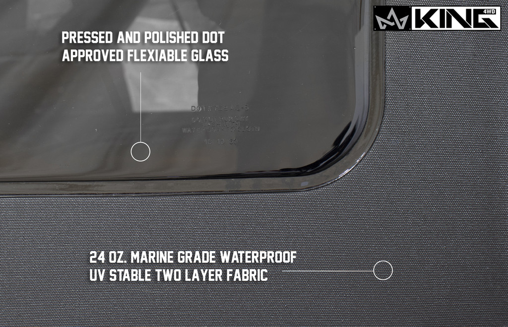 14010435 King 4WD Premium Replacement Soft Top, Black Diamond With Tinted Windows, Jeep Wrangler Unlimited JK 4 Door 2007-2009. Pressed and Polished DOT Approved Flexible Glass, 24oz Marine Grade Waterproof UV Stable Two Layer Fabric.