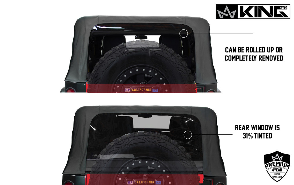 14010435 King 4WD Premium Replacement Soft Top, Black Diamond With Tinted Windows, Jeep Wrangler Unlimited JK 4 Door 2007-2009. Back View, Windows Can be Rolled up or removed. 31% Tint.