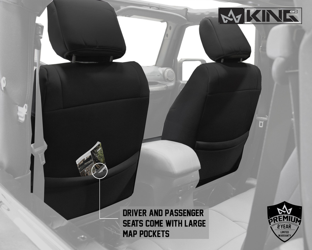 11010101 King 4WD Premium Neoprene Seat Cover Jeep Wrangler JK 2 Door 2013-2018. Driver and Passenger Seats come with Large Map Pockets.