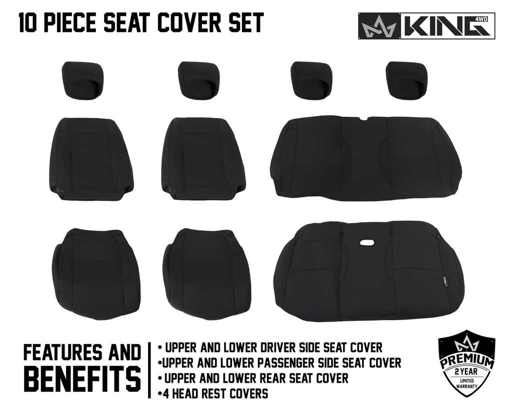 11010101 King 4WD Premium Neoprene Seat Cover Jeep Wrangler JK 2 Door 2013-2018. 10 Piece Set Features and Benefits.