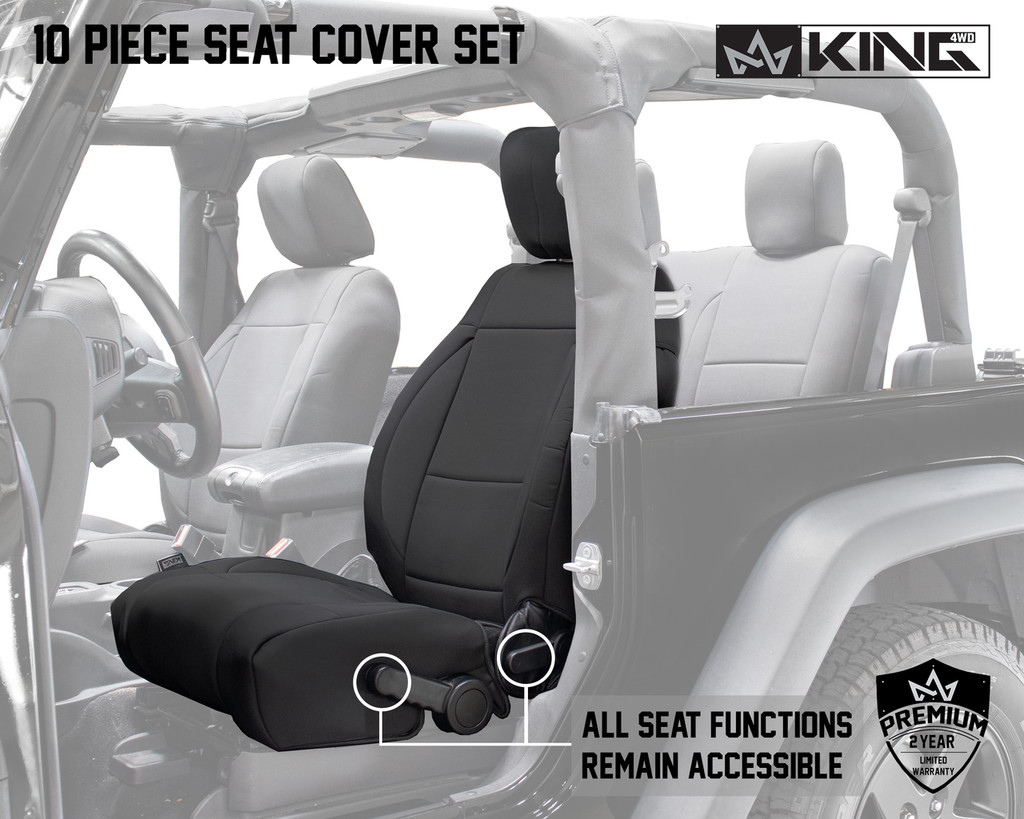 11010101 King 4WD Premium Neoprene Seat Cover Jeep Wrangler JK 2 Door 2013-2018. All Seat Functions Remain Accessible.