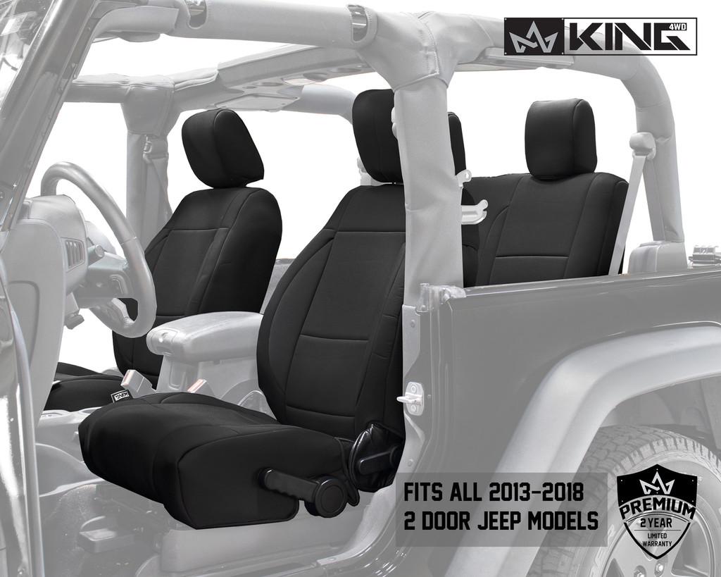 11010101 King 4WD Premium Neoprene Seat Cover Jeep Wrangler JK 2 Door 2013-2018. Fits all 2013-2018 2 door Jeeps.