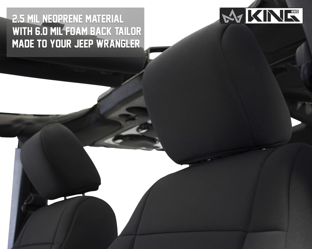 11010101 King 4WD Premium Neoprene Seat Cover Jeep Wrangler JK 2 Door 2013-2018.  2.5 MIL Neoprene material with 6.0 MIL Foam Back Tailor Made to your Jeep.