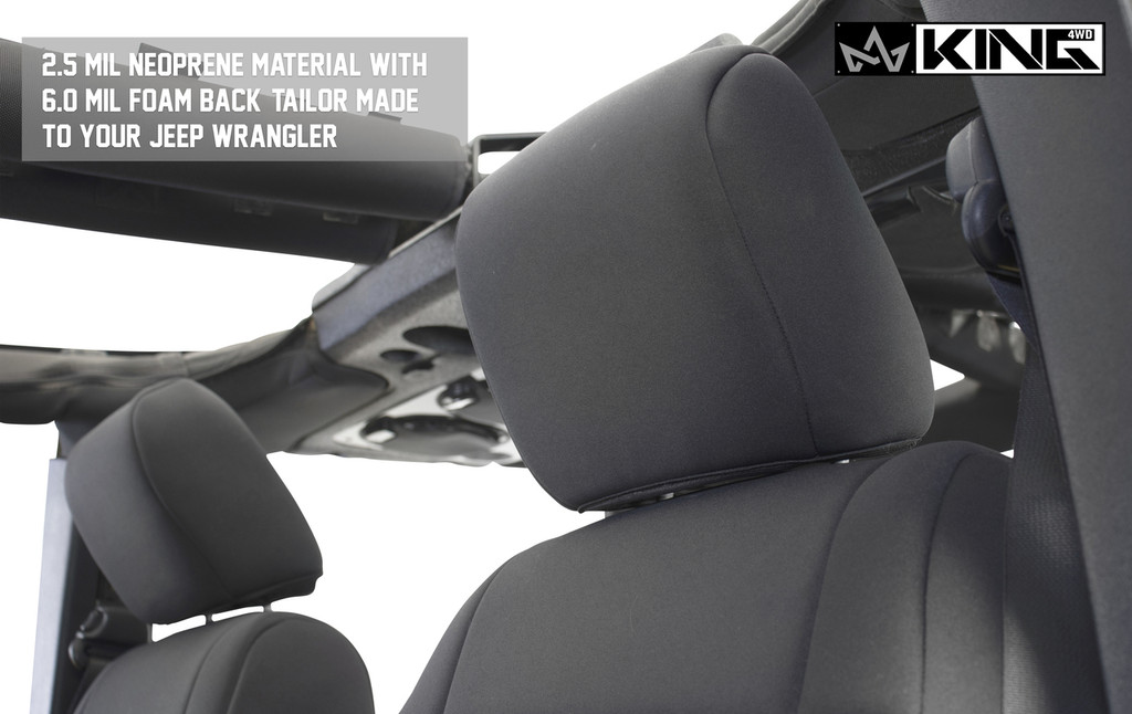 11010401 King 4WD Premium Neoprene Seat Cover Jeep Wrangler Unlimited 4 Door 2008-2012. 2.5 MIL Neoprene Material with 6.0 MIL Foam Back Tailor Made to your Jeep Wrangler.