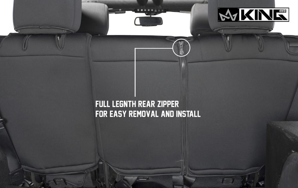 11010401 King 4WD Premium Neoprene Seat Cover Jeep Wrangler Unlimited 4 Door 2008-2012. Full Length Rear Zipper for Easy