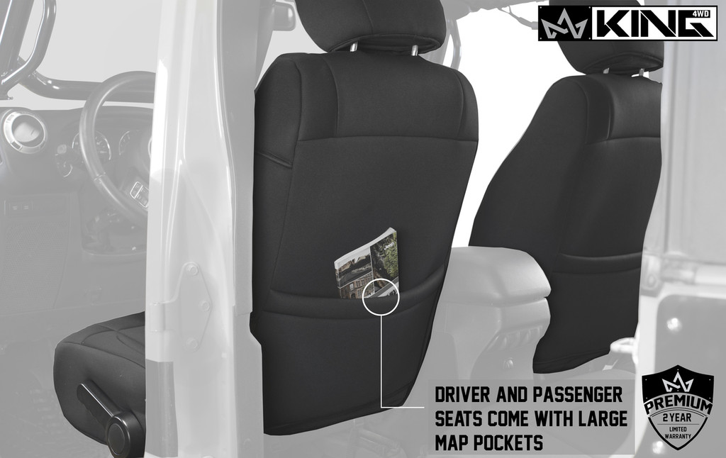 11010401 King 4WD Premium Neoprene Seat Cover Jeep Wrangler Unlimited 4 Door 2008-2012. Driver and Passenger Covers Come with Large Map Pockets.