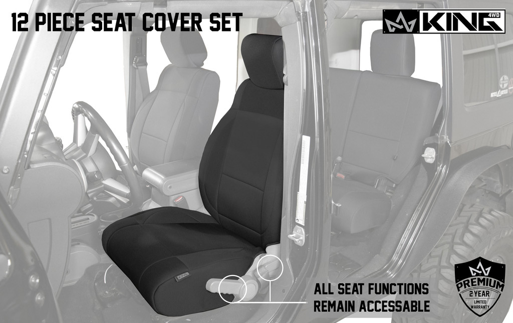 11010401 King 4WD Premium Neoprene Seat Cover Jeep Wrangler Unlimited 4 Door 2008-2012. Driver Seat Cover, All Seat Functions remain accessible.