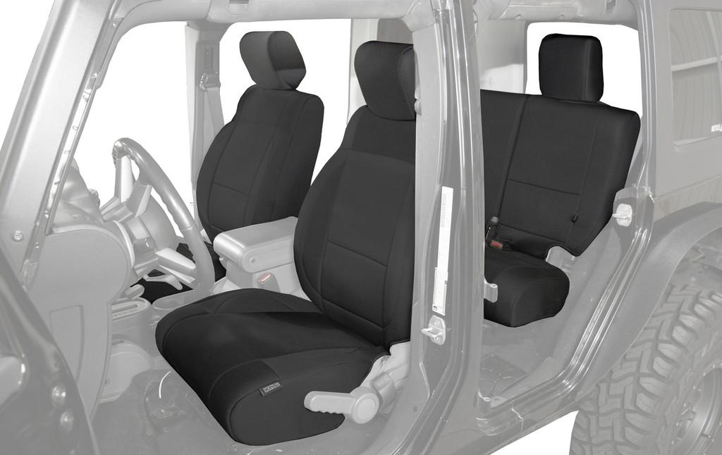 11010401 King 4WD Premium Neoprene Seat Cover Jeep Wrangler Unlimited 4 Door 2008-2012. Full 12 Piece Set on Seats