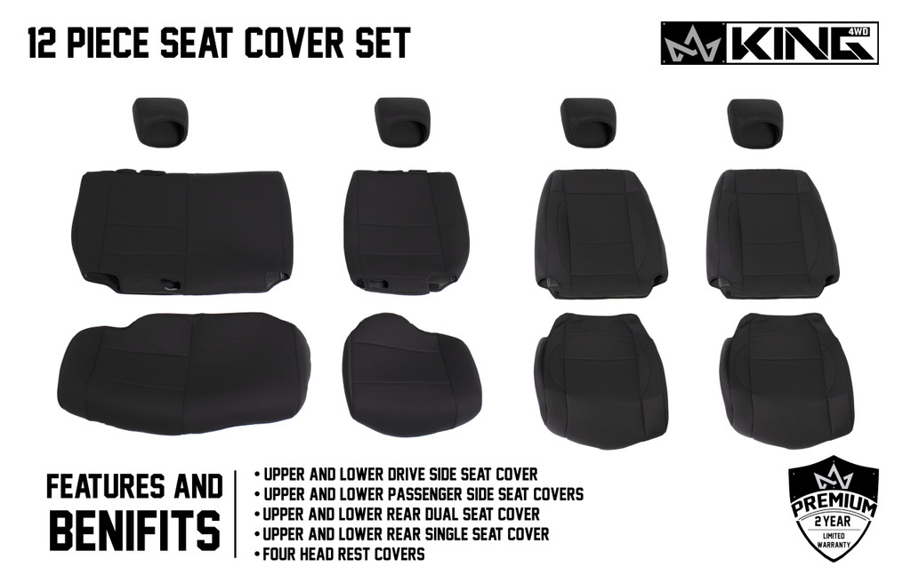 11010501 King 4WD Premium Neoprene Seat Cover Jeep Wrangler JK Unlimited 4 Door 2007