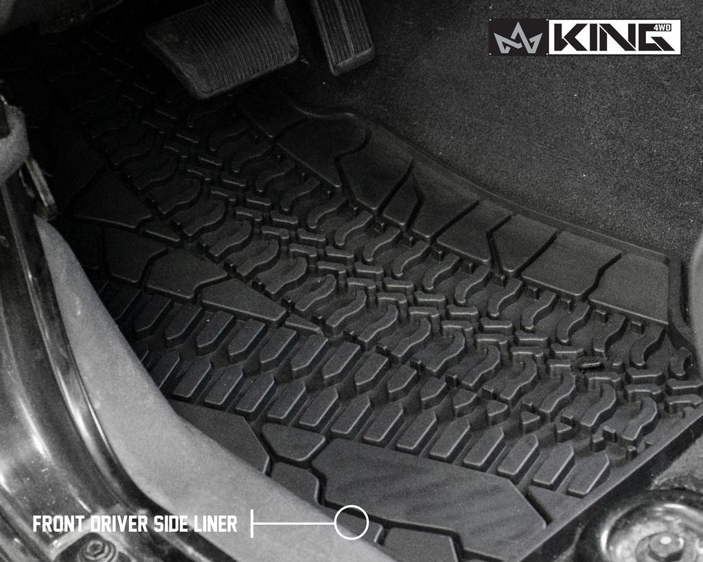 28010201 King 4WD Premium Four-Season Floor Liners Front and Rear Passenger Area Jeep Wrangler JK 2 Door 2007-2013. Front driver side liner.