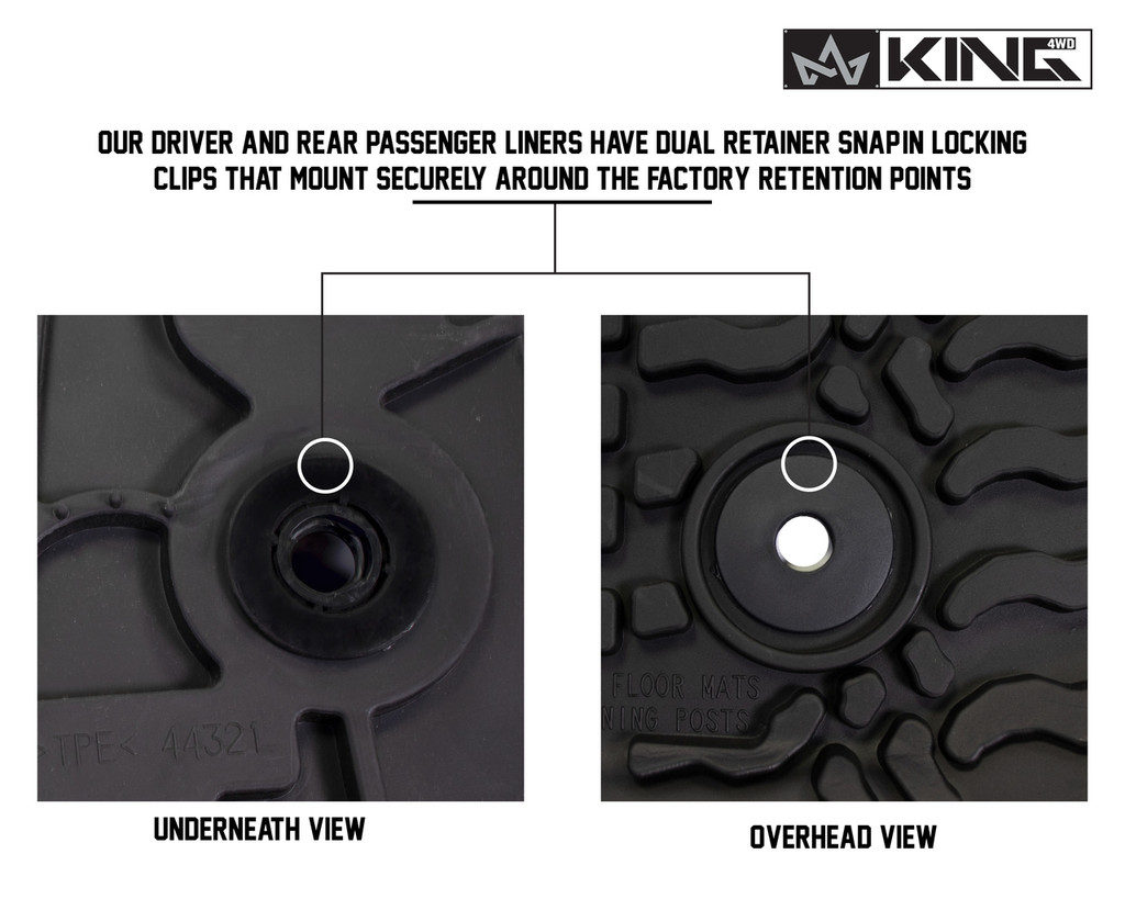 28010201 King 4WD Premium Four-Season Floor Liners Front and Rear Passenger Area Jeep Wrangler JK 2 Door 2007-2013. Overhead view and underneath view. Our driver and rear passenger liners have dual retainer snap-in locking clips that mount securely around the factory retention points.