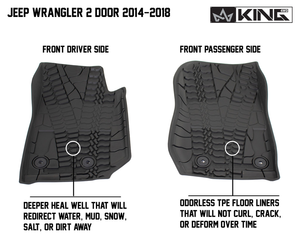 28010401 King 4WD Premium Four-Season Floor Liners Front and Rear Passenger Area Jeep Wrangler JK 2 Door 2014-2018. Deeper heal well that will redirect water, mud, snow, salt, or dirt away. Odorless TPE floor liners that will not curl, crack, or deform over time.